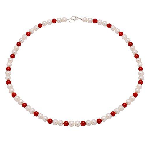 Kette Collier aus echten Süßwasserperlen & Koralle weiß rot Halskette Damen