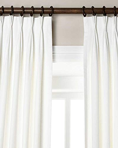 """Silk n Drapes and More 100% Linen Pinch Pleated Lined Window Curtain Panel Drape (White, 27"""" W X 96"""" L)"""