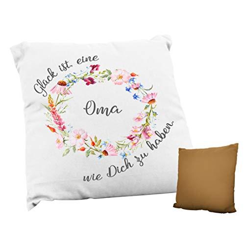 True Statements Kissen Glück ist eine Oma wie dich zu haben - ideales Geschenk, rückseite mokka