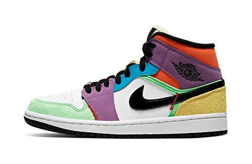 Jordan Nike Scarpe Da Donna Air 1 Mid SE Leggero Club CW1140-100, (Bianco/Nero-lampadina-squadra Arancione), 44.5 EU