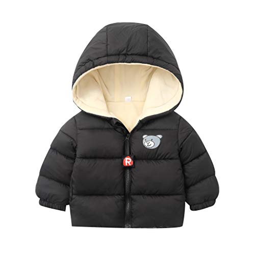 Great Price! jin&Co Baby Kids Boys Girl Warm Coat Bear Cartoon Print Zipper Hooded Snowsuit Coat W...