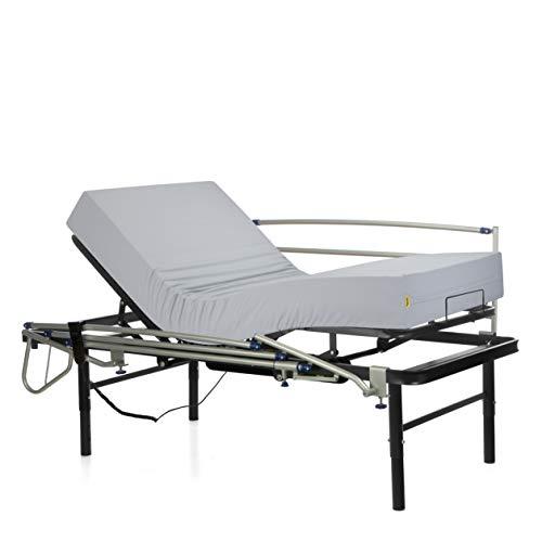 Ferlex - Cama articulada eléctrica geriátrica hospitalaria con Patas Regulables   Colchón Sanitario viscoelástico   Barandillas abatibles (90x190)