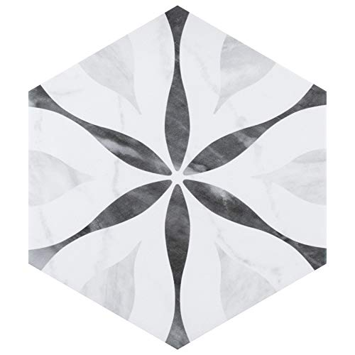 SomerTile FEQ8BXF Murmur Bardiglio Hexagon Porcelain Floor and Wall Tile, 7″ x 8″, Flower, Marbled White, Black, and Grey