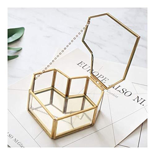 MZA La Creatividad Terrario, en Forma de corazón de Cristal de Interior Plantas geométrica en Directo, fábrica de Cajas de Almacenamiento Adecuado for Las Cajas de Anillo Balcón (Color : Gold)