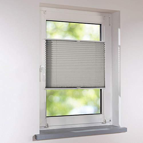 Plissee 125 x 130 cm grau verspannt Klemmfix ohne Bohren Faltrollo Raffrollo Sonnen- & Sichtschutz