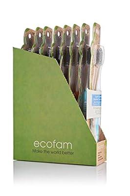EcoFam Anti-Microbial Bristles, Compostable Handle,Adult Toothbrush - Pack of 8