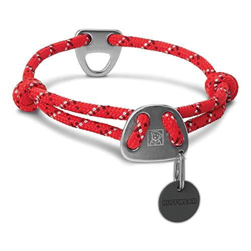 Ruffwear Seil-Halsband für Hunde, Mittelgroße Hunderassen, Größenverstellbar, Reflektorstreifen, Größe: M (36-51 cm), Rot (Red Currant), Knot-a-Collar