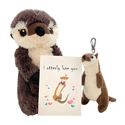 Eco Pals River Otter Valentine's Day Stuffed Animal Plush Toys 9' and Clip On Keychain Otter Plush Animals, Gift Card and Envelope - Plushies Stuffed Otter Toy Gifts for Kids and Adults Baskets