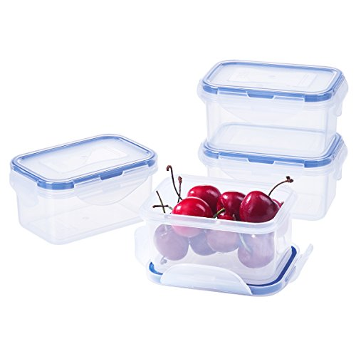 6.1oz Kids Bento Boxes, 4Pack Food Containers for Baby with Lids Leakproof Food Storage Containers for Jam Plastic Daycare Containers Microwave Safe Small Lunch Containers Snack Containers