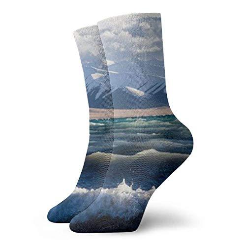 Calcetines de tripulación Azul Mar Agua Blanco Spray Nieve Montaña Cielo Nube...