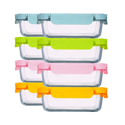 HTREN Meal Prep Containers, 32 oz Glass Food Storage Containers with Lid Airtight, Leakproof Lunch Containers with Utensils, 8 Pack