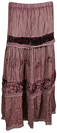 Womans Maxi Skirt Velvet Vintage Lace Tiered Bohemian Long Skirts