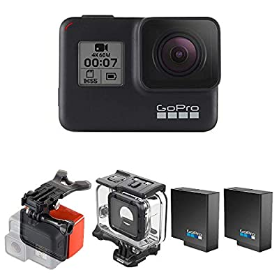 GoPro Hero7 Black Camera Bundle with Extra Battery (2 Batteries Total), Super Suit, and Bite Mount & Floaty