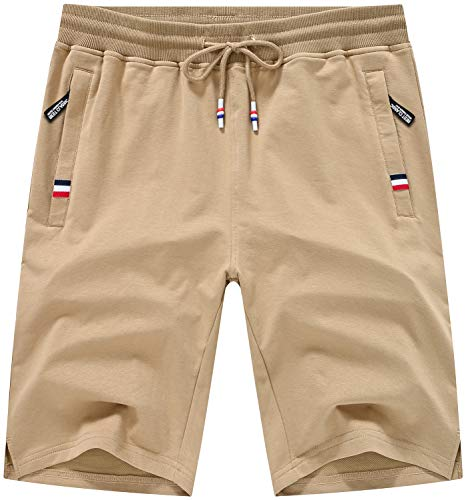 Satankud Men's Khaki Shorts Drawstring Stretch Elastic Waist Zipper Pockets 38