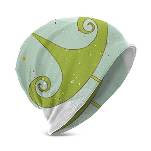 Unisex Beanie Hat Warm and Cozy Retro Christmas Tree Card 3D Kids Fashion Beanie Caps Suitable for Children Aged 3-15