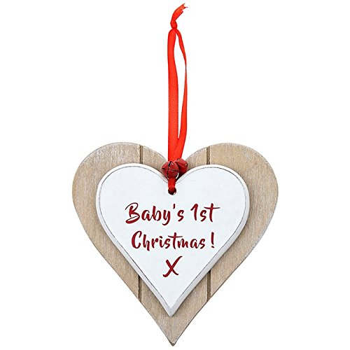 Vintage Style Baby's First Christmas Heart Shaped Wooden Plaque Gift