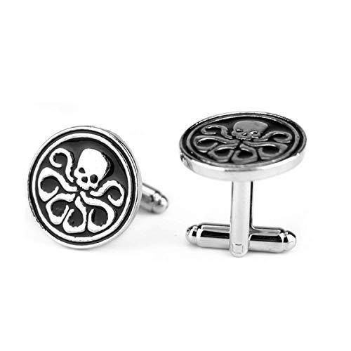 Hzzzzz Manschettenknöpfe Marvel Shield Hydra Logo Octopus Skelett Muster Schwarz Emaille rund