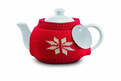 noTrash2003 Weihnachtliche Keramik Teekanne für eine Tasse mit Norweger Strickpullover und Edelstahl Teesieb