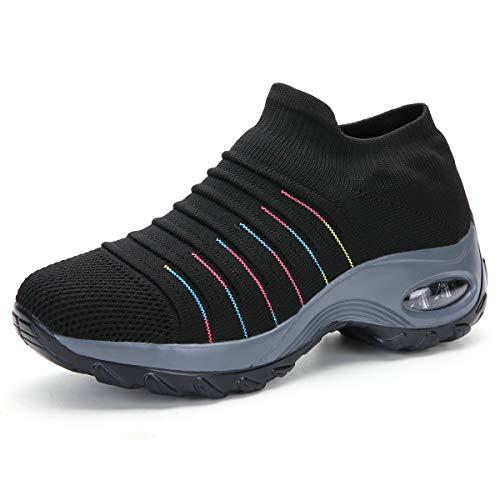 Zapatillas de Deporte para Mujer Calzado de Gimnasia Calzado Ligero para Correr Calcetines cómodos y Transpirables Calzado sin Cordones Senderismo al Aire Libre Calzado con cuña,2089 Black01 36