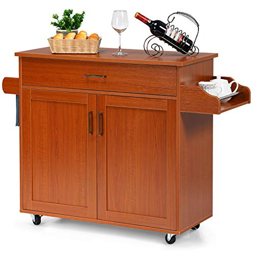 Giantex Kitchen Island, Rolling Kitchen Cart with Spice and Towel Rack, Large Drawer & 2-Door Storage Cabinet, Home Service Cart on Lockable Wheels, Wood Kitchen Trolley, Spacious Tabletop (Cherry)