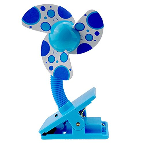 Steellwingsf Safe Soft Blades Portable Flexible Clip On Mini Fan for Baby Pram Stroller Cot (Blue)