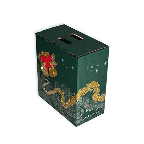 Pack 20 Cajas para lote navideño. Capacidad 6 botellas +Lote. Caja de Canal Doble con asa. Medidas exteriores 335 X 180 X 365 mm