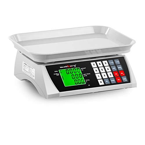 Steinberg Systems SBS-PW-301CA Kontrollwaage Marktwaage Preiswaage Digitale Tischwaage Ladenwaage (30 kg / 1 g, LCD-Display, 6 Funktionen, 28,8 x 21,8 cm)