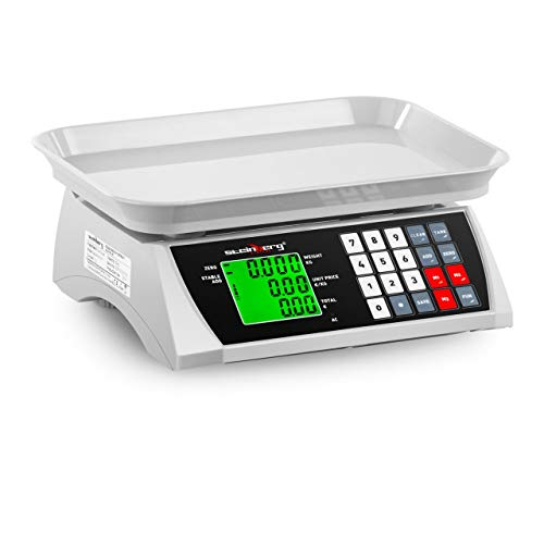 Steinberg Systems SBS-PW-301CA Kontrollwaage Marktwaage Preiswaage Digitale Tischwaage Ladenwaage (30 kg / 1 g, LCD-Display, 6 Funktionen, 28,8 x 21,8 cm)