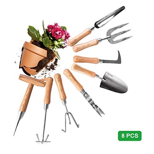 Pixier Gartenwerkzeug Sets, Gartengeräte Aus Edelstahl (8in1) :Harke, Handschaufel, Unkrautstecher, Rostfrei,Puncher,Sämaschine