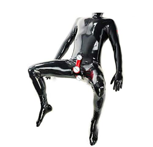 LYFASD Latex Suit Feet Latex Catsuit Men Hidden Two Condoms Without Hood Customized Clothes Body Lingerie (Color : Black, Size : S)