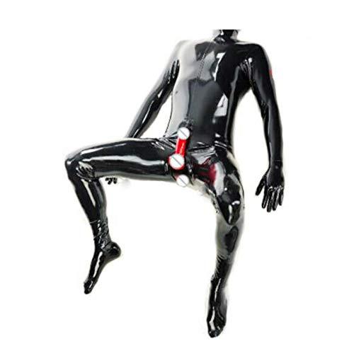U/D Latex-Anzug Füße Latex Catsuit Männer Versteckte Zwei Kondome ohne Haube Customized Kleidung-Körper-Wäsche (Color : Schwarz, Size : XXL)
