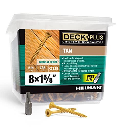 Hillman Fasteners 48412 Deck Screws, 5lb Box, Tan, 735 Count