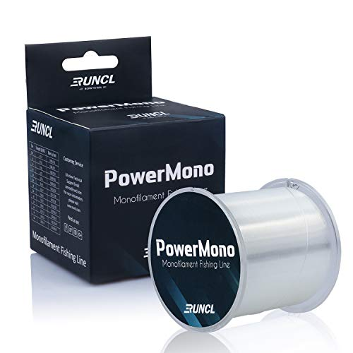 RUNCL PowerMono Fishing Line, Monofilament Fishing Line - Ultimate Strength, Shock Absorber, Suspend in Water, Knot Friendly - Mono Fishing Line (Clear, 20LB(9.1kgs), 1000yds)
