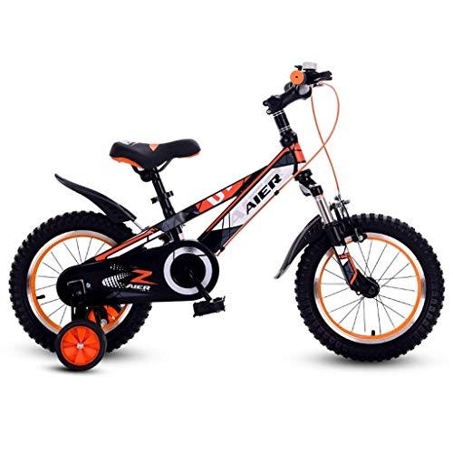 ZYC-WF Bicicletas Niños, Bicicletas Niños Hijos de Bicicletas 12/14/16 Pulgadas con Amortiguador de Masculino Y Femenino Bicicleta de Los Niños 2-8 Bebé de Los Años Bicicleta Naranja,Naranja 14 Pulga