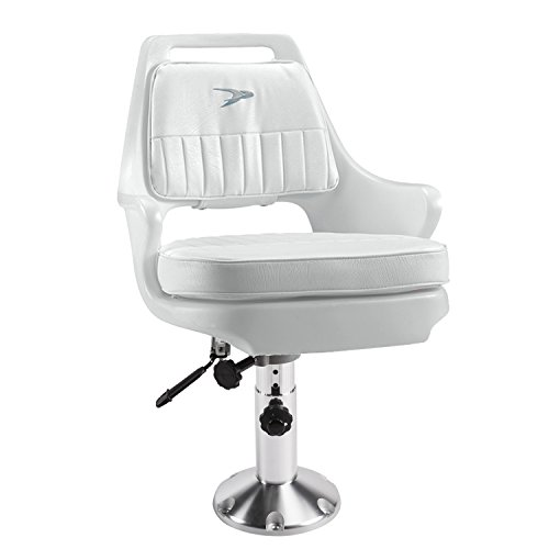 Wise 8WD015-6-710 Standard Pilot Chair with Adjustable Height Pedestal and Seat Slide,White