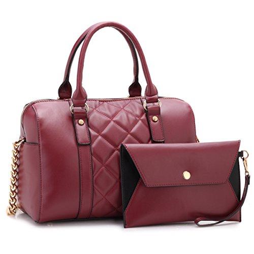 Dasein Women Soft Vegan Leather Barrel Bags Large Top Handle Totes Satchel Handbags Shoulder Purse W/Wallet Wine