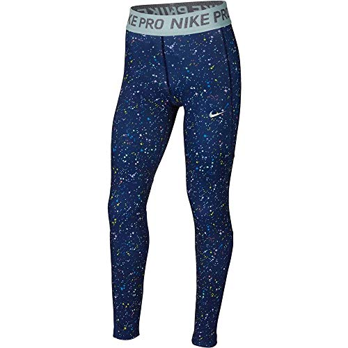 Nike Mädchen Wm Tight Print Wz, Blue Void/Blue Void/Teal Tint, L