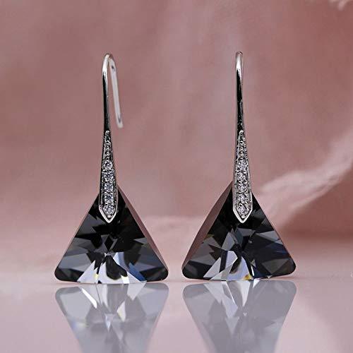 CHQSMZ Pendiente Nuevo triángulo Humo Gris Austria Cristal Pendientes Largos de Gota Oro Blanco circón Natural Mujeres Boda Noble joyería de Moda