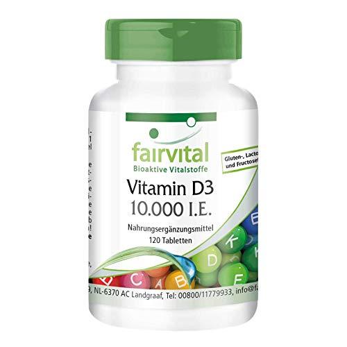 Vitamin D3 10.000 I.E. Depot - HOCHDOSIERT - Cholecalciferol - nur 1 Tablette alle 10 Tage - 120 Tabletten