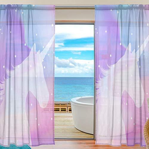 Mnsruu Fenster Gardinen Einhorn Glitter Regenbogen Home Decoration für Wohnzimmer Schlafzimmer Kinderzimmer 200x140cm, Voile Curtains 2 Panels