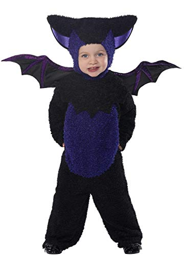 Smiffys-32935T2 Disfraz de murciélago, con Traje Entero, Capucha y alas, Color Negro, Pequeño-Edad 3-4 años (Smiffy'S 32935T2)