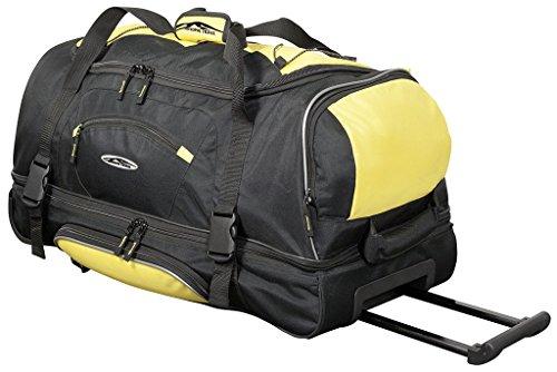 Große Reisetasche 106L XXL mit Rollen Trolley Jumbo Tasche Reise Koffer Sporttasche Schwarz Gelb