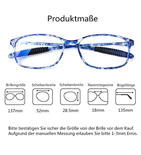DOOViC Blaulichtfilter Computer Lesebrille Blau Schildkröte/Eckig Rahmen Leichte Brille/Lesehilfe/Sehhilfe mit Stärke für Herren 2,5