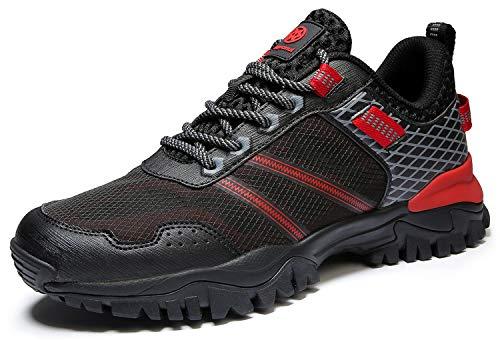 Eagsouni Damen Herren Laufschuhe Traillaufschuhe Sportschuhe Turnschuhe Sneakers Schuhe für Outdoor Fitnessschuhe Joggingschuhe Straßenlaufschuhe, Schwarz Rot B, 46 EU
