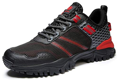 Eagsouni Damen Herren Laufschuhe Sportschuhe Turnschuhe Traillaufschuhe Straßenlaufschuhe Sneaker Joggingschuhe Walkingschuhe Traillauf Fitness Schuhe, Schwarz Rot B, 48 EU