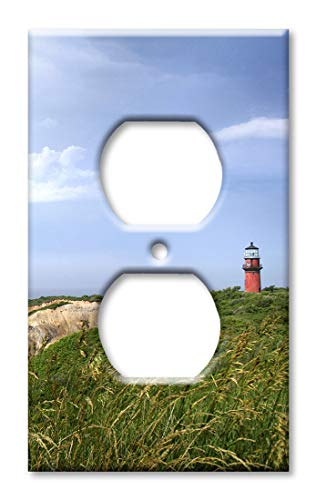 Art Plates Over Sized Outlet Cover/Oversize Outlet Switch Plate - Red Lighthouse in The Grass