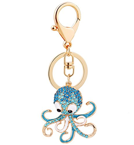 Aibearty Cute Octopus Crystal Keychain Animal Keyring Car & Bag Accessory Free with Gift Bag