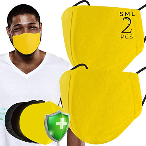 3 Layer Mustard Yellow Face 𝖬𝖺𝗌𝗄𝗌 (Pack of 2) Features 3D Designed to fit Most Adult Face Sizes Unisex with Extra Padding Slot 30x Washable & Reusable Casual Wear (Size S&M)