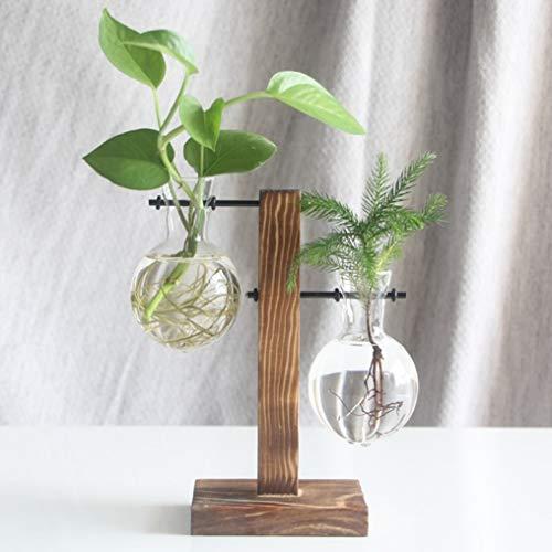 LVYING Hydroponic Plant Vases Glass Vase Planter Terrarium Table Desktop Bonsai Flower Pot Hanging Pots with Wooden Tray Home Decor