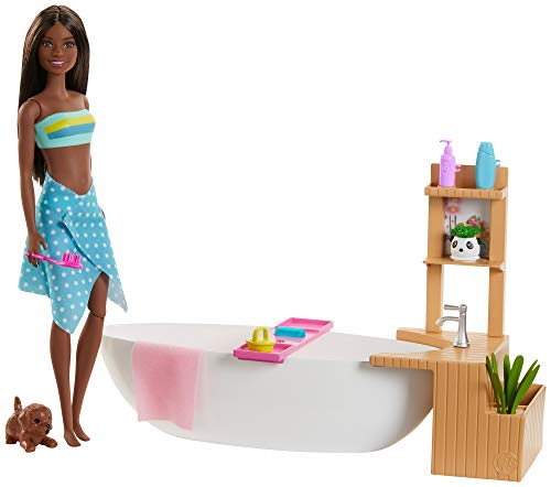 ​Barbie Fizzy Bath Doll and Playset, Brunette, with Tub, Fizzy Powder, Puppy and More, Gift for Kids 3 to 7 Years Old